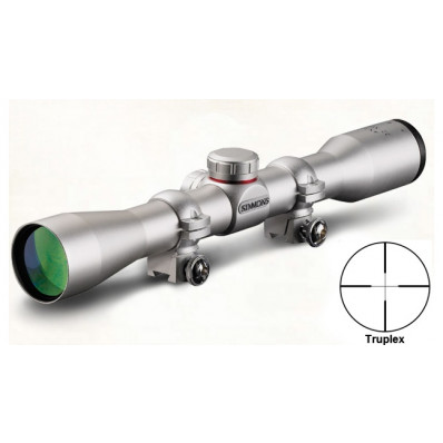 "Simmons .22 Mag Rimfire Rifle Scope with Rings - 4x32mm Truplex 21' 4"" Silver"