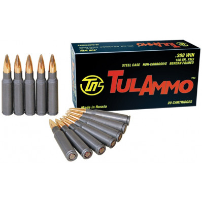 Tula Centerfire Rifle Ammunition .223 Rem 55 gr FMJ 3241 fps 20/box .308 Win 150 gr FMJ 2800 fps - 20/box