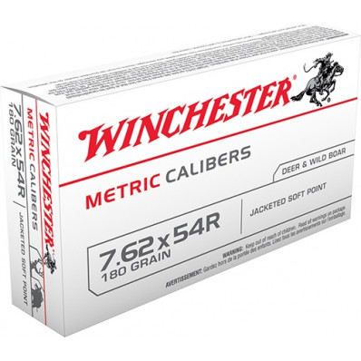Winchester Metric Caliber Centerfire Rifle Ammunition 7.62x54R 180 gr SP 2625 fps - 20/box