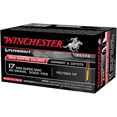 Winchester Varmint .17 Mag Centerfire Rifle Ammunition -  HE .17 WSM - 25 gr - V-Max - 50/box
