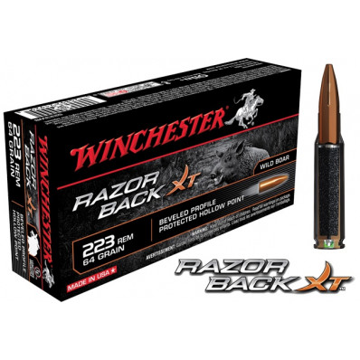 Winchester Razorback XT Rifle Ammunition .223 Rem 64 gr HP 3020 fps - 20/box