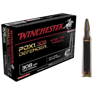 Winchester PDX1 Defender Centerfire Rifle Ammunition .308 Win 120 gr HP 2850 fps - 20/box