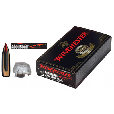 Winchester AccuBond CT Centerfire Rifle Ammunition .338 Win Mag 225 gr AB 2800 fps - 20/box