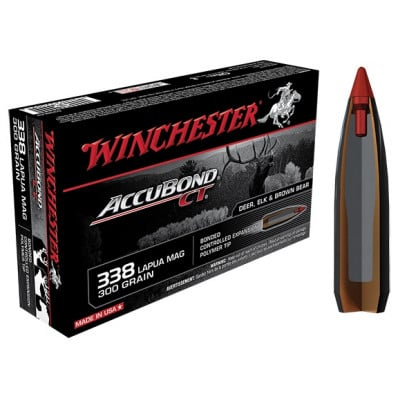 Winchester AccuBond CT Centerfire Rifle Ammunition .338 Lapua Mag 300 gr AB 2650 fps - 20/box
