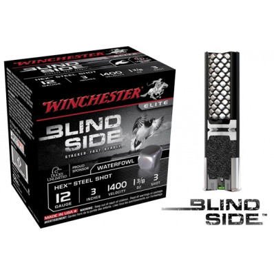 "Winchester Blind Side Hex Shot 12 ga 3""  1 3/8 oz #2 1400 fps - 25/box"