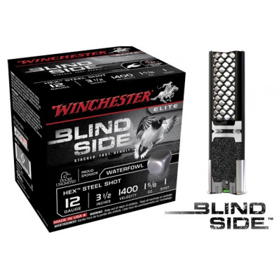 "Winchester Blind Side Hex Shot 12 ga 3 1/2""  1 5/8 oz #1 1400 fps - 25/box"