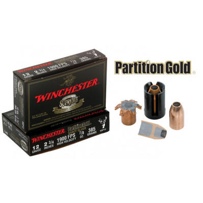 "Winchester Supreme Partition Gold Slug 12 ga 2 3/4""  385 gr Slug 1725 fps - 5/box"
