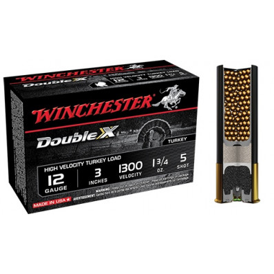 "Winchester Double X Turkey Load 12 ga 3"" MAX 1 3/4 oz #5 1300 fps - 10/box"