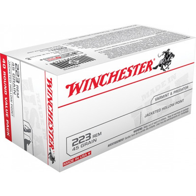 Winchester USA Centerfire Rifle Ammunition .223 Rem 45 gr JHP 3600 fps - 40/box