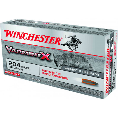 Winchester Varmint X Rifle Ammunition .204 Ruger 32 gr Poly Tip 4000 fps - 20/box