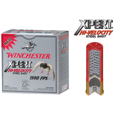 "Winchester Xpert High-Velocity Steel 12 ga 3""  1 1/8 oz #2 1550 fps - 25/box"