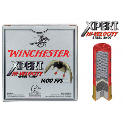 "Winchester Xpert High-Velocity Steel 12 ga 2 3/4""  1 1/8 oz #2 1400 fps - 25/box"