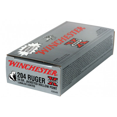 Winchester Super-X Centerfire Rifle Ammunition 204 Ruger 34 gr JHP 4025 fps - 20/box