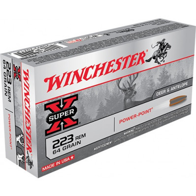 Winchester Super-X Centerfire Rifle Ammunition .223 Rem 64 gr PSP 3020 fps - 20/box