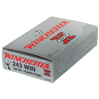 Winchester Super-X Power Point Centerfire Rifle Ammunition .243 Win 100 gr PSP 2960 fps - 20/box