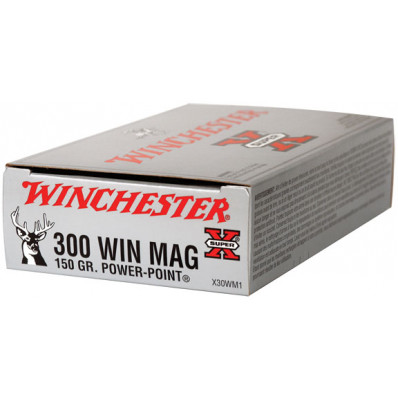 Winchester Super-X Power Point Centerfire Rifle Ammunition .300 Win Mag 150 gr PSP 3290 fps - 20/box