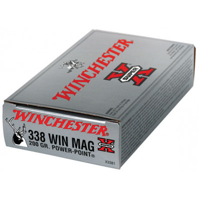 Winchester Super-X Power Point Centerfire Rifle Ammunition .338 Win Mag 200 gr PSP 2960 fps - 20/box