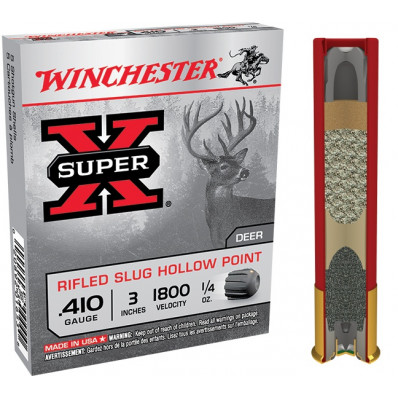 "Winchester Super-X Rifled Slug .410 ga 3""  1/4 oz Slug 1800 fps - 5/box"