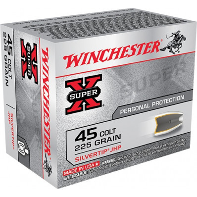 Winchester Super-X Centerfire Handgun Ammunition .45 Colt 225 gr HP 920 fps 20/box