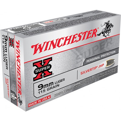 Winchester Super-X Centerfire Handgun Ammunition 9mm Luger 115 gr HP 1225 fps 50/box