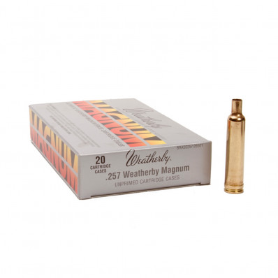 Weatherby Unprimed Brass Rifle Cartridges 20/ct  .338-.378 Wby