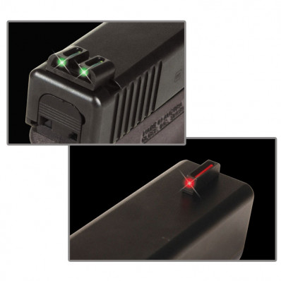 Truglo Glock 20/21/29 Fiber Optic Handgun Sight Set Front Red Rear Green