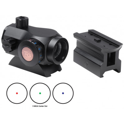 Truglo Triton 20mm Tri-Color Red Dot Sight w/High & Low Mounting Base - 1x20mm 5 MOA Red/Green/Blue Dot -  Black