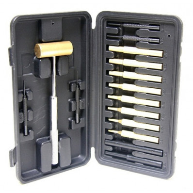 ProMag Industries Brass Hammer with 14-Piece Punch Set