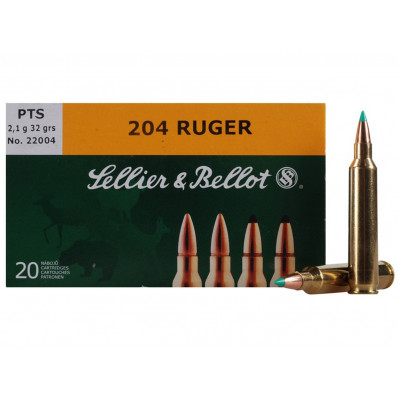 Sellier & Bellot Centerfire Rifle Ammunition .204 Ruger 32 gr PTS 4125 fps - 20/box