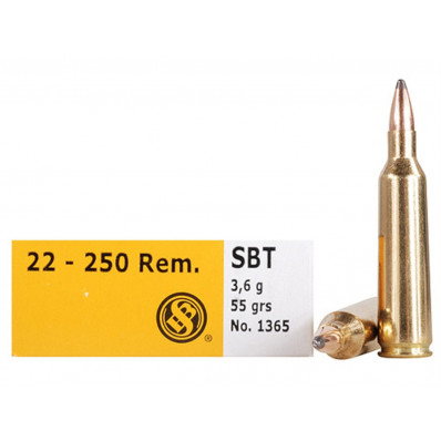 Sellier & Bellot Centerfire Rifle Ammunition .22-250 Rem 55 gr Sabot  - 20/box