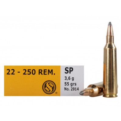 Sellier & Bellot Centerfire Rifle Ammunition .22-250 Rem 55 gr SP  - 20/box