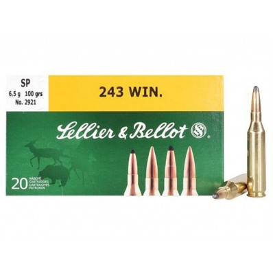 Sellier & Bellot Centerfire Rifle Ammunition .243 Win 100 gr SP 885 fps - 20/box
