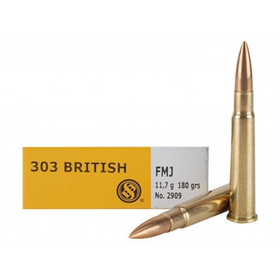 Sellier & Bellot Centerfire Rifle Ammunition .303 British 180 gr FMJ 2440 fps - 20/box