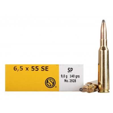 Sellier & Bellot Centerfire Rifle Ammunition 6.5x55 SE 140 gr SP 793 fps - 20/box