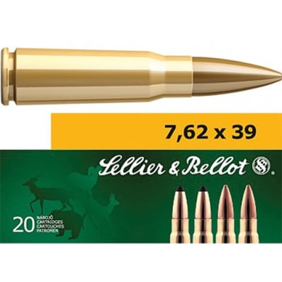 Sellier & Bellot Centerfire Rifle Ammunition 7.62x39mm 123 gr FMJ 2420 fps - 20/box