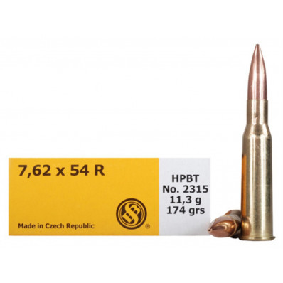 Sellier & Bellot Centerfire Rifle Ammunition 7.62x54R 174 gr HPBT  - 20/box