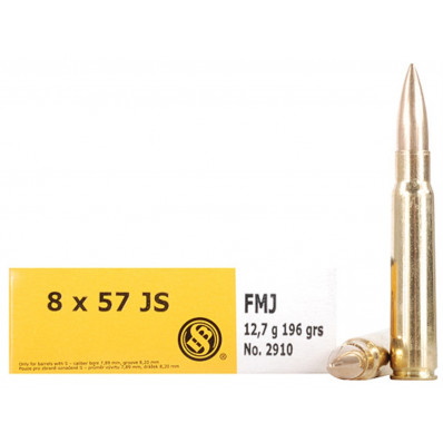 Sellier & Bellot Centerfire Rifle Ammunition 8x57JS 196 gr FMJ 2540 fps - 20/box