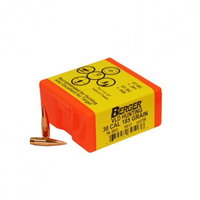 "Berger Match Grade Hunting Bullets .30 cal .308"" 185 gr VLD HUNTER 100/box"