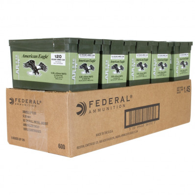 Federal XM855 Green Tip Ammunition 5.56mm NATO 62 gr FMJ Green Tip 600/ct