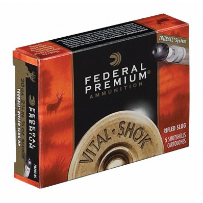 "Federal Premium Vital-Shok Truball Rifled Slug 12 ga 2 3/4""  1 oz Slug 1300 fps - 5/box"