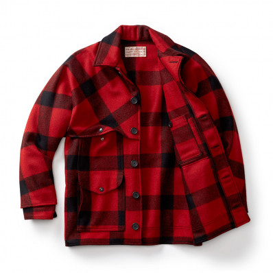 "Filson Wool Double Mackinaw Cruiser - Alaska Fit Red/Black 48"" Chest"