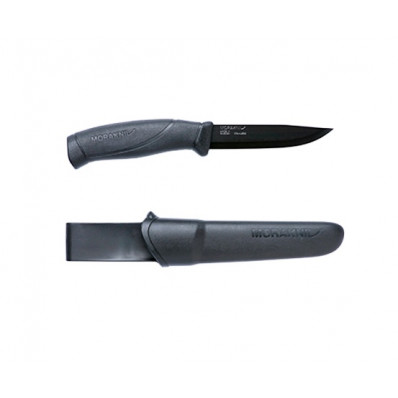 "Morakniv Companion Black Blade Knife - Stainless Steel Blade Black Handle Black Sheath  4.1"" Blade and 8.6"" Overall Length"