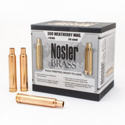 Nosler Unprimed Brass Rifle Cartridge Cases 50/ct .300 Wby Mag