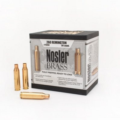 Nosler Unprimed Brass Rifle Cartridge Cases 50/ct .260 Rem