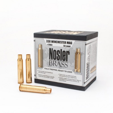 Nosler Unprimed Brass Rifle Cartridge Cases 50/ct .338 Win Mag