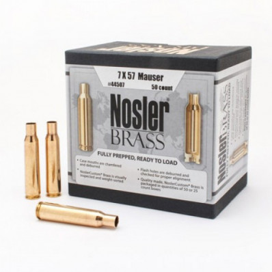 Nosler Unprimed Brass Rifle Cartridge Cases 50/ct 7x57mm Mauser