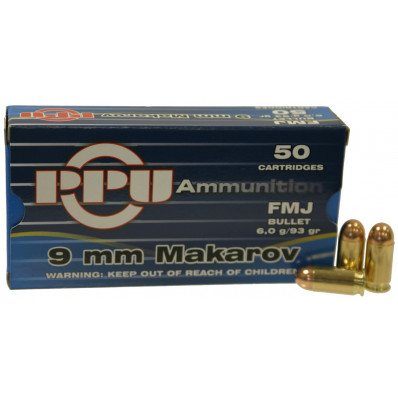 PPU Handgun Ammunition 9mm x 18 Makarov 93 gr FMJ 50/Box