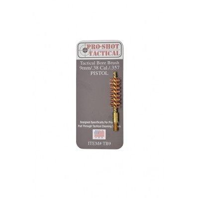Pro-Shot Tactical Bronze Bristle/Brass Core Bore Brush (8/32 Thread) .38/9mm