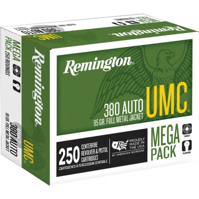 Remington UMC Centerfire Handgun Ammunition .380 ACP 95 gr FMJ  250/box