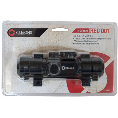 Simmons 1x24mm Red Dot Sight with Rings - Matte Black